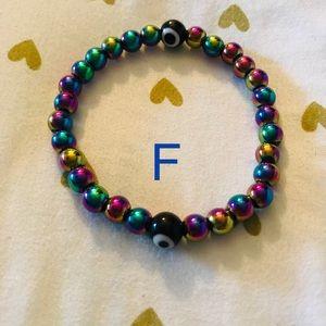 F. Evil Eye Blessed and Beaded Bracelet